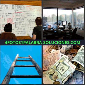 4 Fotos 1 Palabra - pizarra llena de anotaciones. Oficina. Escalera. Dinero billetes y monedas para jugar.