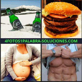 4 Fotos 1 Palabra - cervezas heineken. Hamburguesa. Embarazada. Abdominales. Six pack.