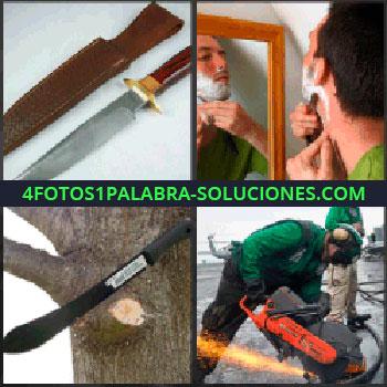 4 Fotos 1 Palabra - cuchillo. Hombre afeitándose. Machete. Motosierra. Radial.