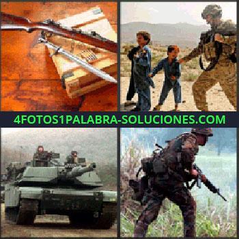 4 Fotos 1 Palabra - militar. Fusil y espada. Niños jugando con militar. Tanque. Soldado con ametralladora