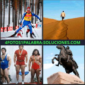 4 Fotos 1 Palabra - esquiador. Caminando sobre arena en el desierto. Competición hombres forzudos. Estatua hombre a caballo