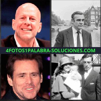 4 Fotos 1 Palabra - Jim Carrey, Bruce Willis. Señor foto blanco y negro. Matrimonio con bebe. Actores