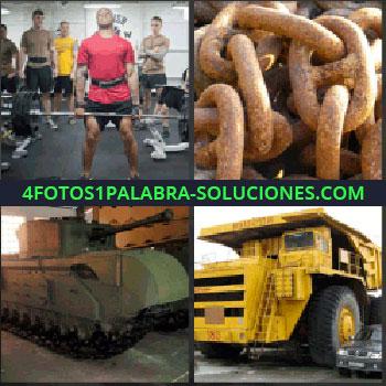 4 Fotos 1 Palabra - tanque de guerra. En un gimnasio levantando pesas. Cadenas. Camión gigante