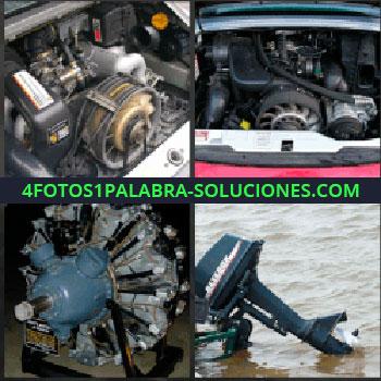 4 Fotos 1 Palabra - Ventilador motor. Motor coche. Turbina avión. Motor de yate o lancha