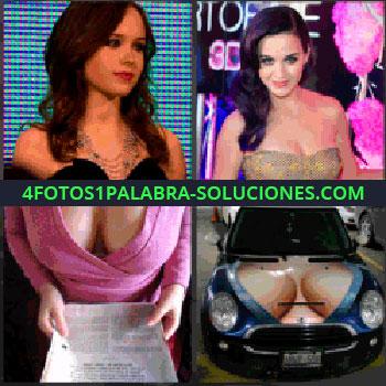 4 Fotos 1 Palabra - famosa. Señorita con vestido de noche. Mujer con jersey rosa. Carro o coche pintado con pechos de mujer