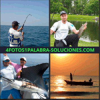 4 Fotos 1 Palabra - Hombre pescando. Señor junto a rio con pez. Dos hombres con pescado enorme. Barca al atardecer