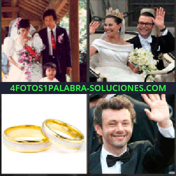 4 Fotos 1 Palabra - boda oriental. Recién casados con corona en carro. Anillos o alianzas de boda. Hombre con esmoquin