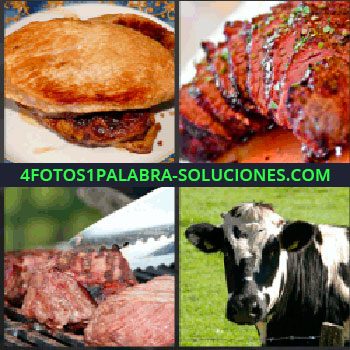 4 Fotos 1 Palabra - empanadilla de carne. Guiso con carne. Filetes. Cortes de carne. Vaca