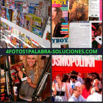 4 Fotos 1 Palabra - kiosco o quiosco. Revistas Playboy. Maxim. Cosmopolitan