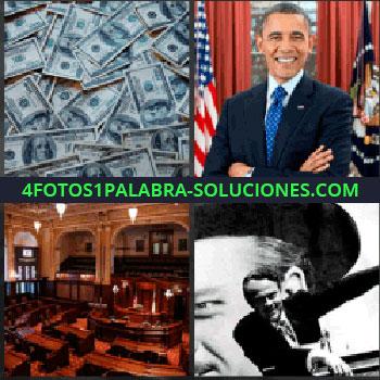 4 Fotos 1 Palabra - dolares. Montones de dinero. Barack Obama. Congreso o senado