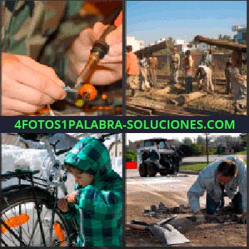 4 Fotos 1 Palabra - militar arreglando. Hombres construyendo. Niño con bicicleta. Señor arreglando carretera