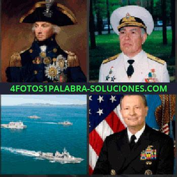 4 Fotos 1 Palabra - general. Capitán. Teniente. Barcos militares de guerra. Comandante
