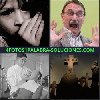 4 Fotos 1 Palabra - dentista. Foto de niño temeroso. Señor asustado. Cruz de piedra