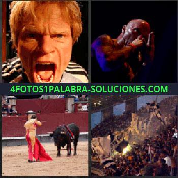 4 Fotos 1 Palabra - hombre enfadado. Torero matando a toro. Afición exaltada