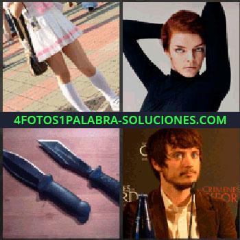 4 Fotos 1 Palabra - Frodo, Falda y calcetas chica, Foto señorita, Dos cuchillos o navajas o machetes, Protagonista El señor de los anillos, Elijah Wood.