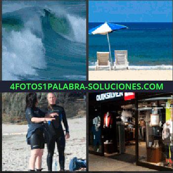 4 Fotos 1 Palabra - ola grande en el mar. Sombrilla en la playa. Mujer y hombre con neopreno. Escaparate tienda Quiksilver
