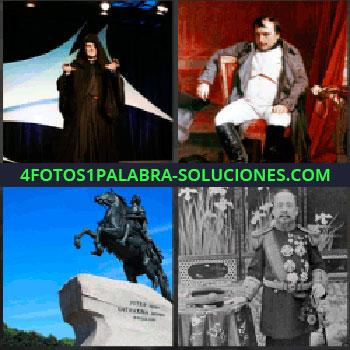 4 Fotos 1 Palabra - Napoleon Bonaparte. Señor con tunica y capucha. Estatua hombre a caballo. Zar o Jefe de Estado.