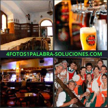 4 Fotos 1 Palabra - cerveza. Mesa alargada con sillas. Caña y surtidor de cerveza. Bar. Chicos y chicas vestidos típicos