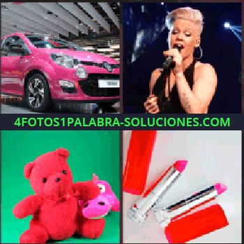 4 Fotos 1 Palabra - Coche o carro de color rosa, cantante, Pink, peluches rosados, barra de labios, pintalabios