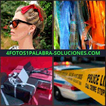 4 Fotos 1 Palabra - mujer con lazo rojo. Telas de colores. Paquetes de regalo. Cinta policía escena del crimen