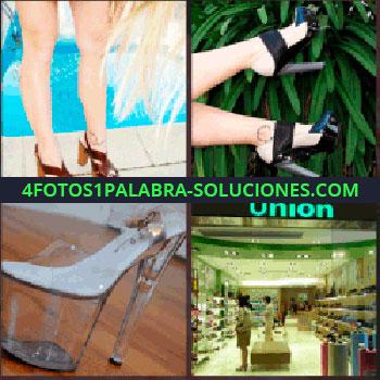 4 Fotos 1 Palabra - Tienda de zapatos, pies, mujer al borde de una piscina, union, sandalias tacones