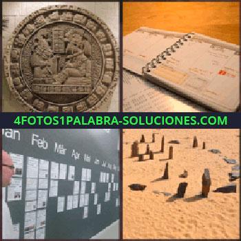 4 Fotos 1 Palabra - piedras en la arena. Mayas. Agenda. Pizarrón con meses