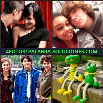 4 Fotos 1 Palabra - Jonas Brothers, peluches de color verde, muñecos rana y cocodrilo, pareja de negro