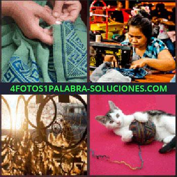 4 Fotos 1 Palabra - Manos bordando en tela verde, señora con máquina de coser, atrapasueños, gato con lana
