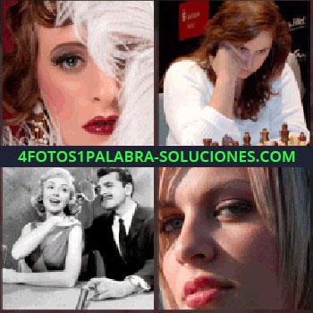 4 Fotos 1 Palabra - Mujer con media cara tapado por plumas blancas, foto en blanco y negro de pareja de cine, mujer jugando al ajedrez