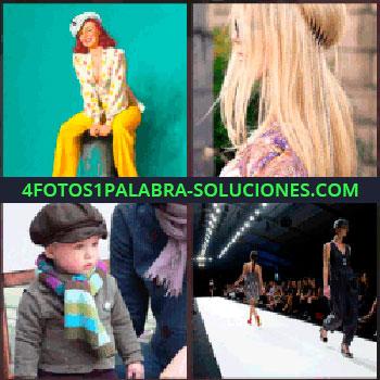 4 Fotos 1 Palabra - Mujer con pantalón amarillo. Cabello o melena rubia. Niño con gorra y bufanda. pasarela de moda