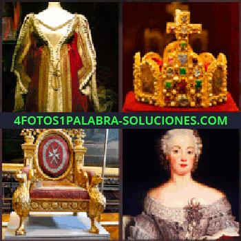 4 Fotos 1 Palabra - Vestido antiguo. corona reyes. Trono o sillon antiguo. Cuadro antiguo