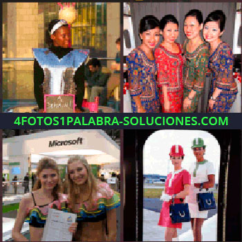 4 Fotos 1 Palabra - Mujer con pequeña pizarra. mujeres orientales. Azafatas o edecanes evento Microsoft. Dos señoritas con gorro y vestido rojo y verde.