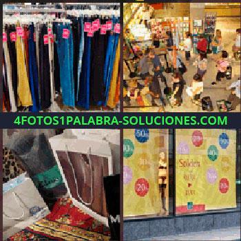 4 Fotos 1 Palabra - pantalones en oferta. Tienda o comercio. Bolsas de la compra. Escaparate ofertas tienda