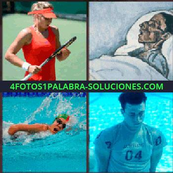 4 Fotos 1 Palabra - tenista. Dibujo persona durmiendo. Nadador. Joven bajo el agua de la piscina o alberca