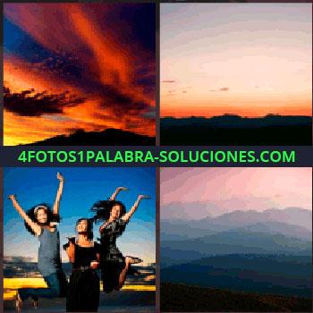 4 Fotos 1 Palabra - Atardecer. Puesta de sol. Señoritas saltando. cielo y montañas
