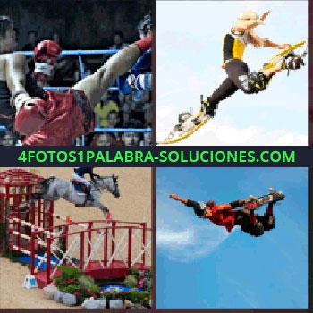 4 Fotos 1 Palabra - Boxeo. Mujer con aparatos de salto en los pies. Caballo de salto. Joven con monopatín saltando. salto
