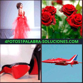 4 Fotos 1 Palabra - mujer con vestido. Rosas. Zapatos de tacón. Avión o avioneta