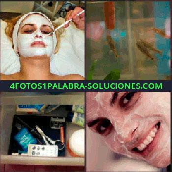 4 Fotos 1 Palabra - mascarilla en la cara. Pecera o acuario. Estuche con tijeras y cremas. Señorita con crema en la cara
