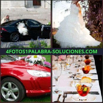 4 Fotos 1 Palabra - coche negro. Vestido de novia. Carro rojo adornado. Mesa de banquete