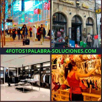 4 Fotos 1 Palabra - Personas por la calle. Exterior de una tienda. tienda de ropa. Mujer viendo cosas para comprar