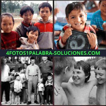 4 Fotos 1 Palabra - Cuatro niños, niño con pizarrón, fotografía en blanco y negro de 3 adultos rodeados de niños, tres amigos
