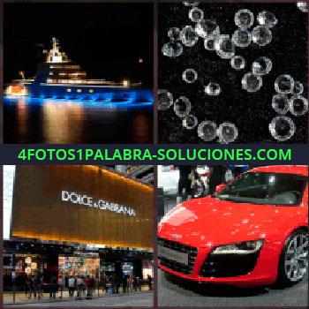 4 Fotos 1 Palabra - crucero barco iluminado. Diamantes. Tienda de Dolce & Gabbana. Coche rojo deportivo