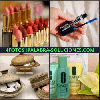 4 Fotos 1 Palabra - Pintalabios o barras de labios. rimel o máscara de pestañas. Cajitas con jabones. Botes de cremas