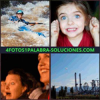 4 Fotos 1 Palabra - Bajando rápidos en canoa o piragua. kayak. Niña ojos azules. Mujer sorprendida. Parque de atracciones o Montaña rusa o Six Flags.
