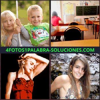 4 Fotos 1 Palabra - Niños rubios o güeros. Aula de escuela. Mujer vestido rojo. Madonna. Señorita en bikini