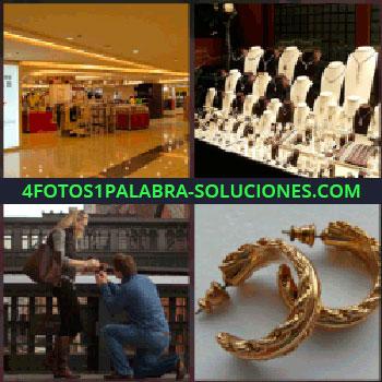 4 Fotos 1 Palabra - joyas. Hotel o sala grande. Escaparate joyería. Hombre arrodillado ante mujer. Pendientes o aretes