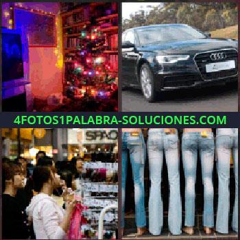 4 Fotos 1 Palabra - Árbol de navidad iluminado, carro negro, coche oscuro, tienda llena de gente, jeans o pantalones vaqueros, audi - La: