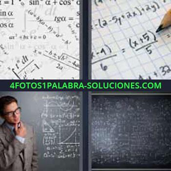 4 Fotos 1 Palabra - matemáticas. Ecuaciones. Pizarra llena de cálculos. Fórmulas matemáticas.
