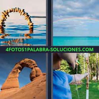 4 Fotos 1 Palabra - siete-letras arcoiris. Piedras en el agua. Tierra roja del desierto. Hombre tirando con arco y flechas.