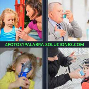 4 Fotos 1 Palabra - spray niña. Señor mayor ventolin. Niña con mascarilla de oxígeno. Niño medicina en la boca.